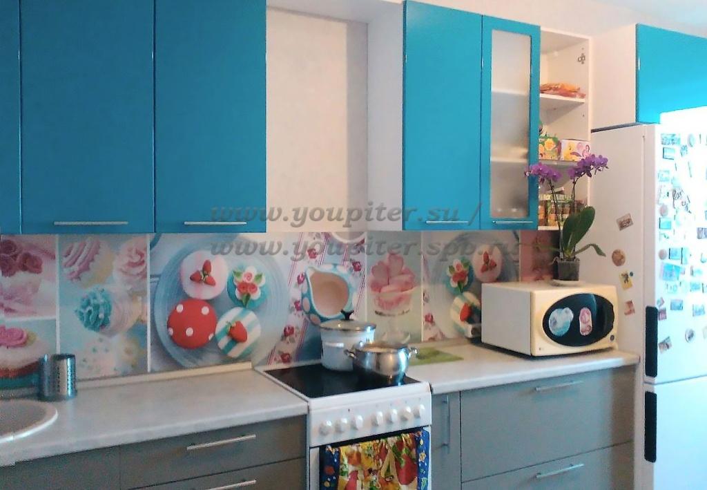 Голубая кухня пленка пвх
