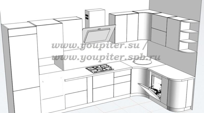 эскиз кухни модерн
